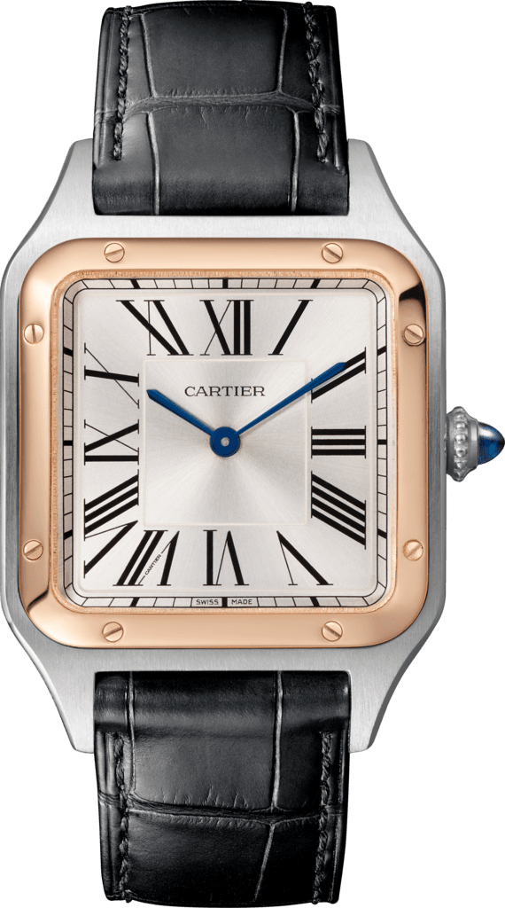Santos-Dumont watchLarge model, 18K pink gold and steel, leather