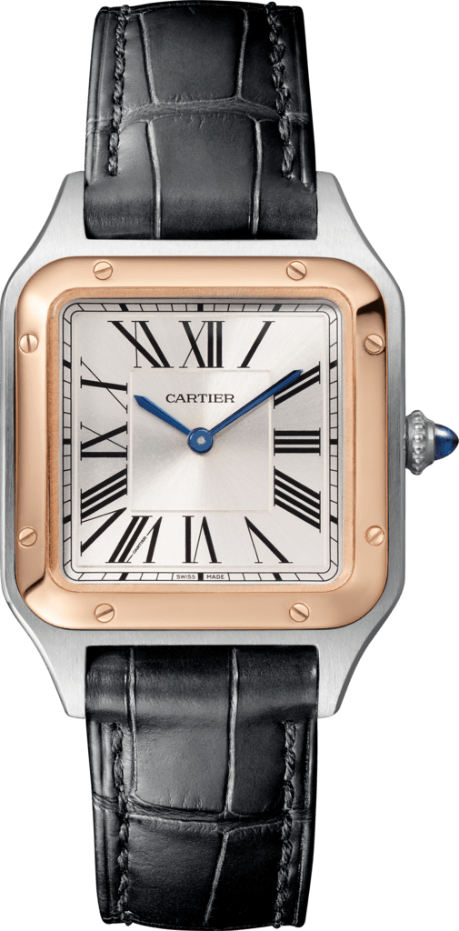 Santos-Dumont watchSmall model, quartz movement, pink gold, steel, leather
