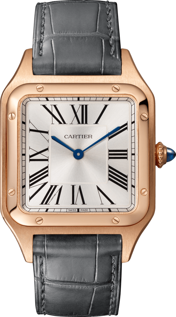 Santos-Dumont watchLarge model, quartz movement, pink gold, leather
