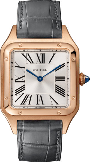 Santos-Dumont watch Large model, quartz movement, pink gold, leather