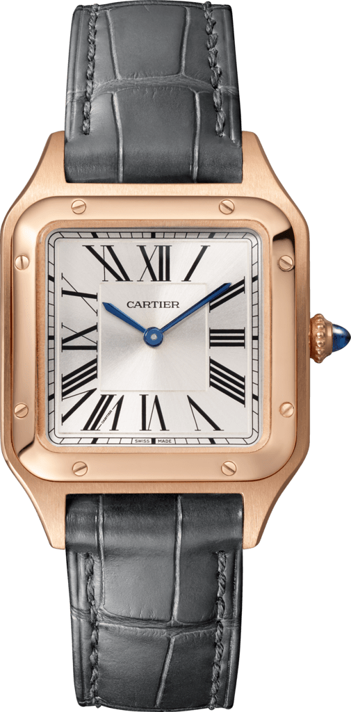 Santos-Dumont watchSmall model, pink gold, leather
