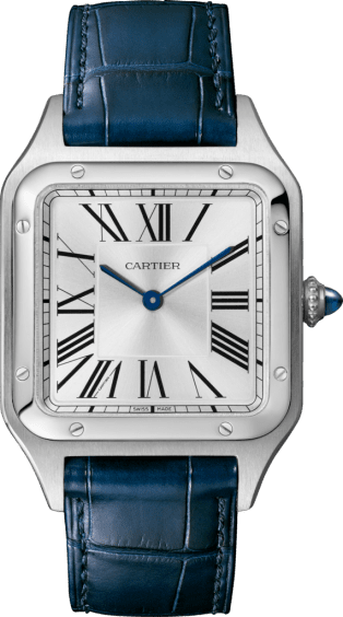 Santos-Dumont watch Large model, steel, leather