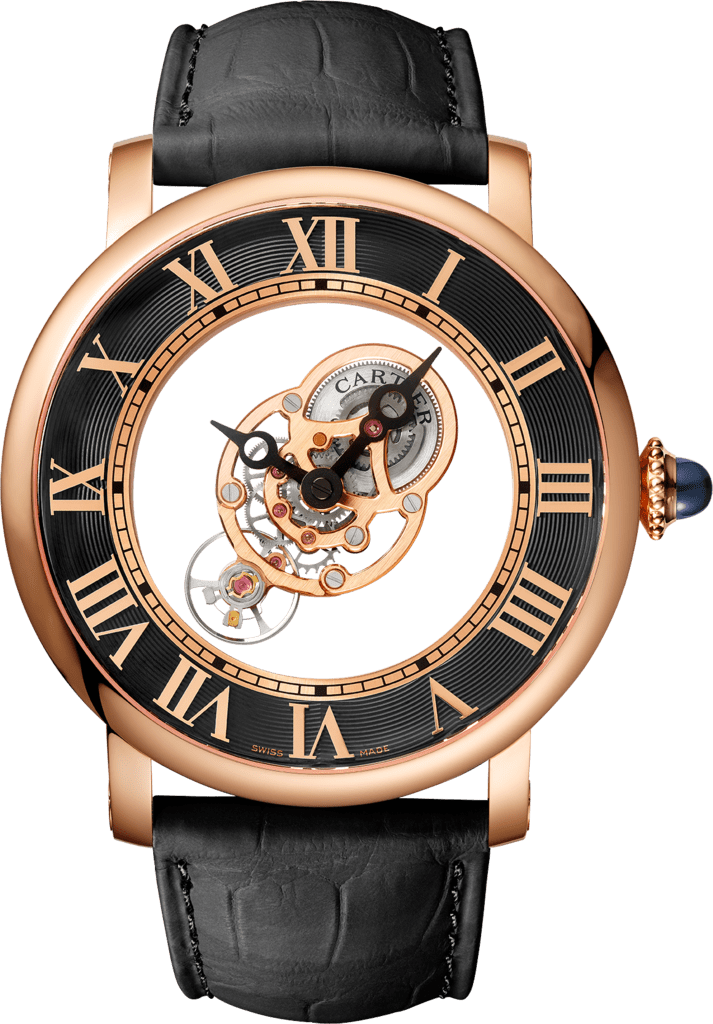 Rotonde de Cartier watch43.5mm, hand-wound mechanical movement, rose gold, leather