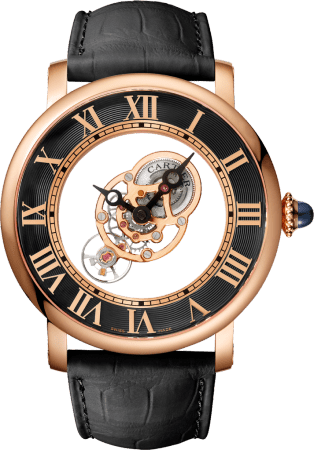 Rotonde de Cartier watch 43.5mm, hand-wound mechanical movement, rose gold, leather