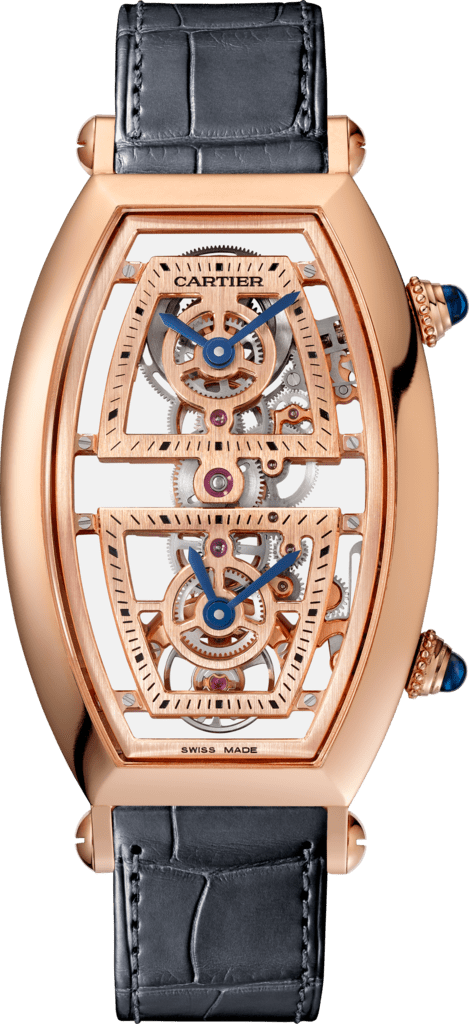 Tonneau watchExtra-large model, hand-wound mechanical movement, rose gold, leather