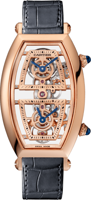Tonneau watch Extra-large model, hand-wound mechanical movement, rose gold, leather