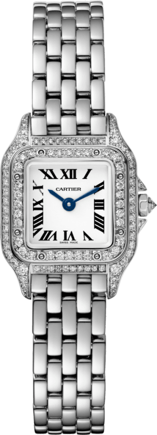 Panthère de Cartier watch Mini, rhodiumized white gold