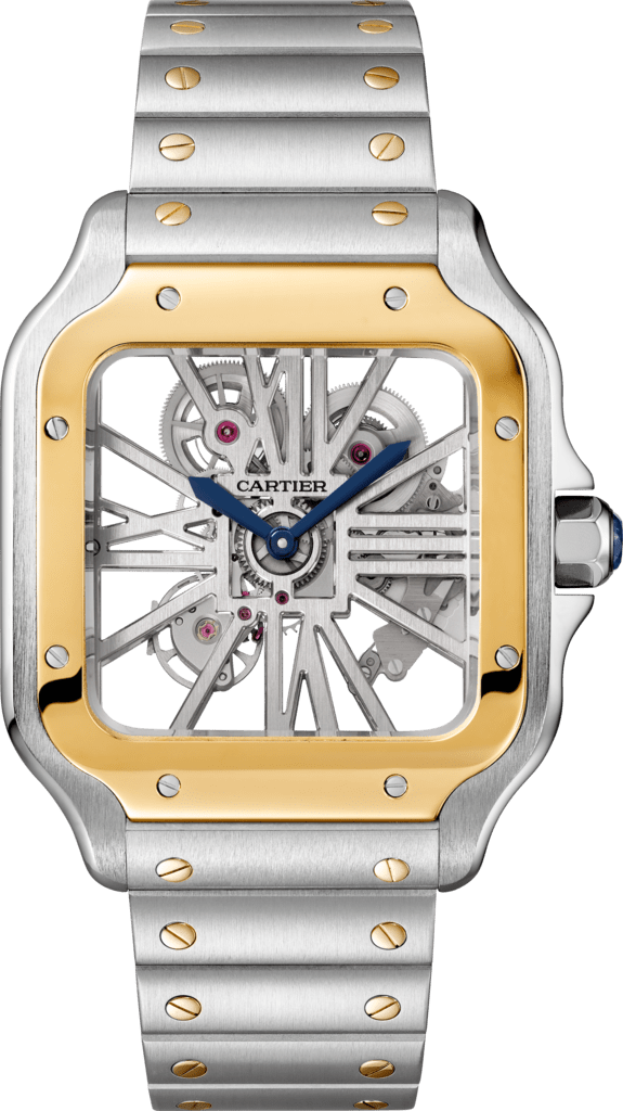 Santos de Cartier watchLarge model, manual, yellow gold and steel, leather