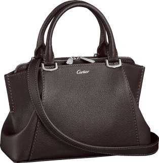 C de Cartier bag, mini model Rhodolite garnet taurillon leather, palladium finish