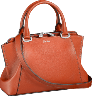 C de Cartier bag, mini model Red carnelian taurillon leather, palladium-finish