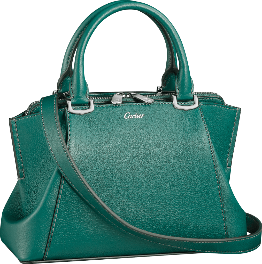 C de Cartier bag, mini modelBlue-green tourmaline taurillon leather, palladium finish