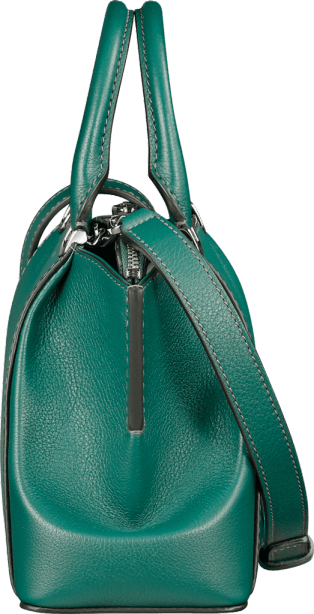 C de Cartier bag, mini model Blue-green tourmaline taurillon leather, palladium finish