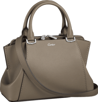 C de Cartier bag, mini model Hematite taurillon leather, palladium finish