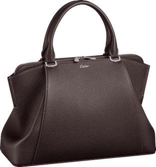 C de Cartier bag, small model Rhodolite garnet taurillon leather, palladium finish
