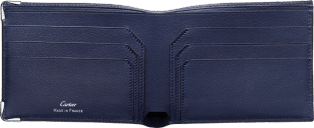 Must de Cartier Small Leather Goods, 6-credit card wallet Blue calfskin, stainless steel finish