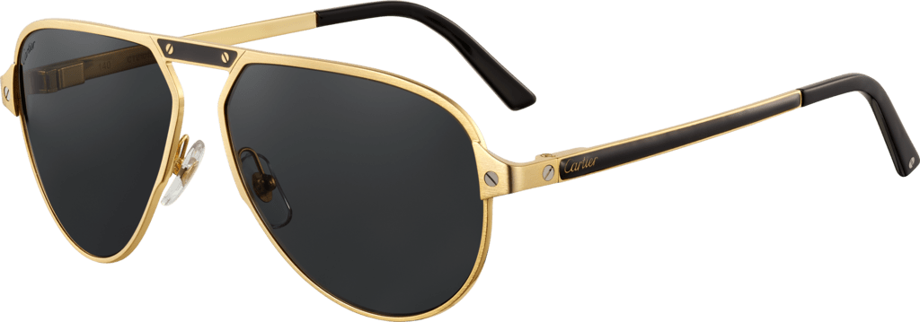 Santos de Cartier sunglassesBlack lacquer temples and bridge, champagne golden-finish metal, gray polarized lenses