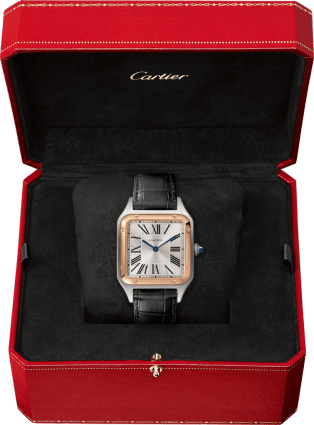 Santos-Dumont watch Large model, 18K pink gold and steel, leather