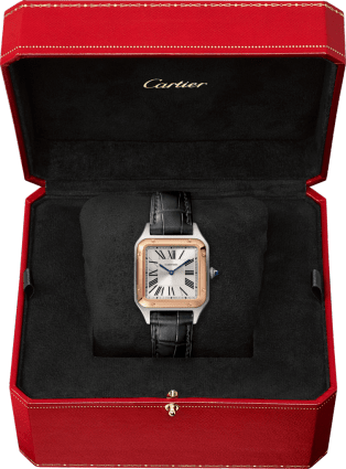 Santos-Dumont watch Small model, quartz movement, pink gold, steel, leather