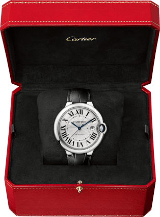 Ballon Bleu de Cartier watch 42 mm, steel, leather