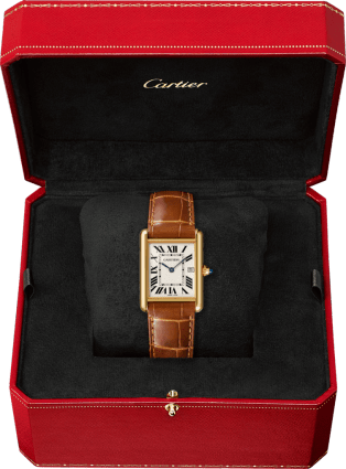 Tank Louis Cartier watch Large model, yellow gold, leather, sapphire