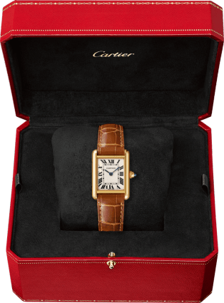 Tank Louis Cartier watch Small model, 18K yellow gold, leather, sapphire