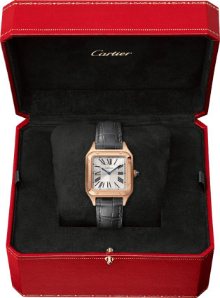 Santos-Dumont watch Small model, pink gold, leather