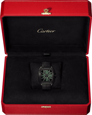 Santos de Cartier watch Large model, manual, ADLC, leather