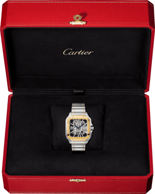 Santos de Cartier watch Large model, manual, yellow gold and steel, leather