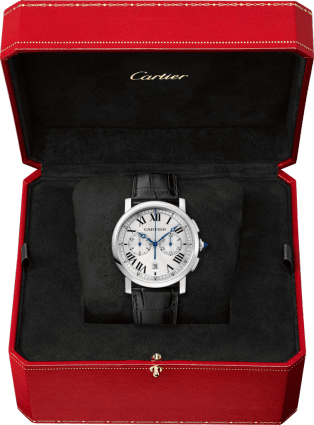 Rotonde de Cartier Chronograph watch 40 mm, steel, leather