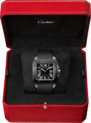 Santos 100 Carbon watch Large model, steel, leather