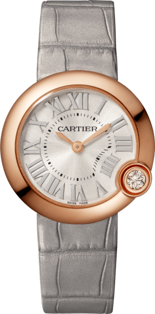 Ballon Blanc de Cartier watch 30mm, quartz movement, rose gold, diamond, leather
