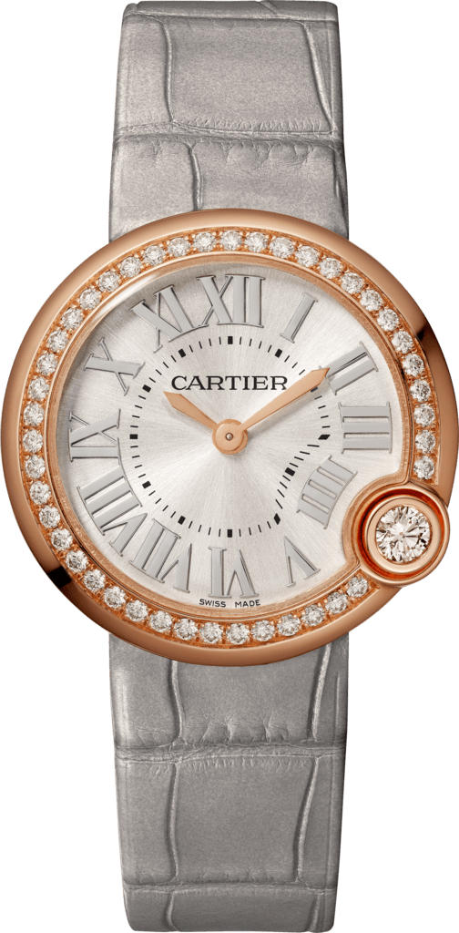 Ballon Blanc de Cartier watch30mm, quartz movement, rose gold, diamonds, leather
