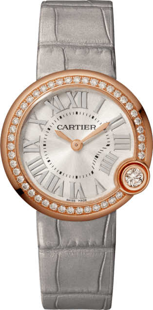 Ballon Blanc de Cartier watch 30mm, quartz movement, rose gold, diamonds, leather