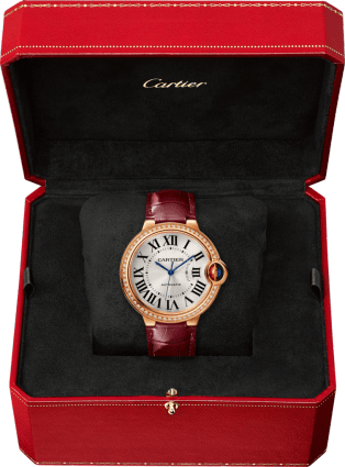 Ballon Bleu de Cartier watch 36 mm, pink gold, diamonds, leather