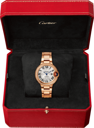 Ballon Bleu de Cartier watch 33 mm, pink gold, diamonds