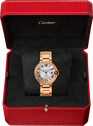 Ballon Bleu de Cartier watch 36 mm, pink gold, diamonds