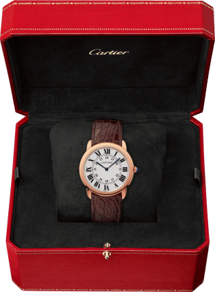 Ronde Solo de Cartier watch 36 mm, 18K pink gold, steel, leather