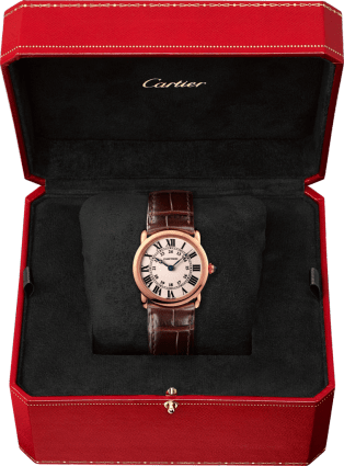Ronde Louis Cartier watch 29 mm, 18K pink gold, leather