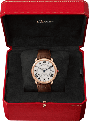 Ronde Louis Cartier watch 40mm, automatic movement, rose gold, leather