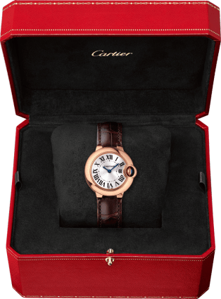 Ballon Bleu de Cartier watch 28 mm, 18K pink gold, sapphire, leather