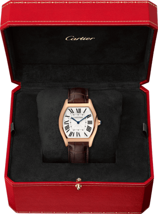 Tortue watch Large model, 18K pink gold, leather