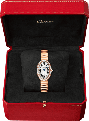 Baignoire watch, small model Small model, 18K pink gold, diamonds