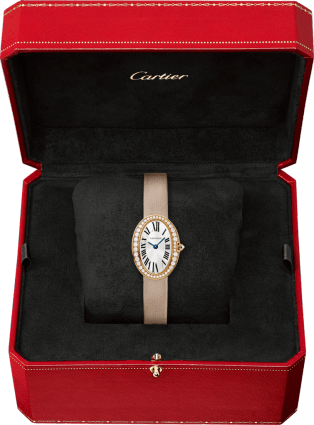 Mini Baignoire watch Mini model, quartz movement, rose gold, diamonds, canvas