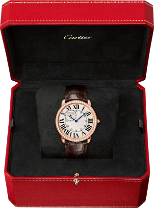 Ronde Louis Cartier watch 42mm, hand-wound mechanical movement, rose gold, diamonds, leather