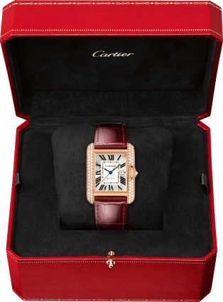 Tank Anglaise watch Large model, 18K pink gold, leather, diamonds