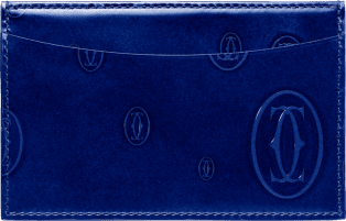 Happy Birthday Small Leather Goods, card holder Blue calfskin, palladium finish