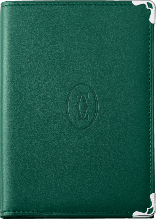 Must de Cartier Small Leather Goods, passport holder Peacock green grained calfskin, stainless steel finish