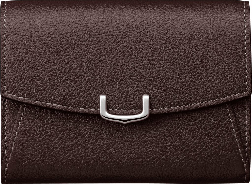 C de Cartier Small Leather Goods, compact walletRhodolite garnet taurillon leather, palladium finish
