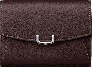 C de Cartier Small Leather Goods, compact wallet Rhodolite garnet taurillon leather, palladium finish