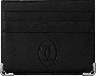 Must de Cartier Small Leather Goods, 6-credit card wallet Black calfskin, stainless steel finish